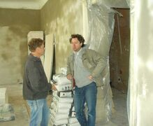 The polish plaster craftsman with Mr. von der Luehe